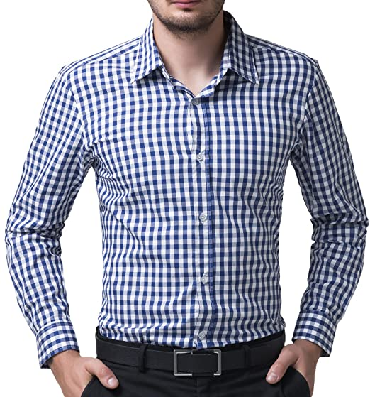 93c238d898f6 Amazon.com  Paul Jones Casual Plaid Dress Shirts for Men Checkered Button  Down Shirt CL6299  Clothing