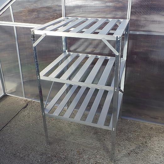 Mesa de siembra de estantería de pie 62 x 50 x 114 cm para invernadero Invernadero aluminio estante de pared con estantes: Amazon.es: Jardín