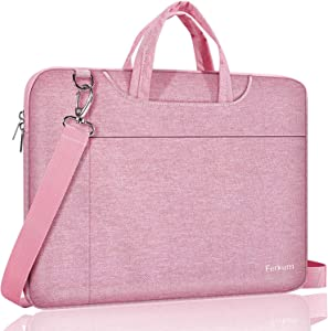 Ferkurn 17-17.3 Inch Laptop Bag Case with Shoulder Strap, 360 Protective Waterproof Slim Computer Carrying Sleeve Cover Compatible with HP Envy 17, 2020 Asus Dell, New Razer Blade Pro 17, Pink