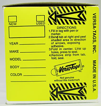 YELLOW - Genuine Versa-Tag Yellow Key Tags, Self-Protecting (250 tags per  box with