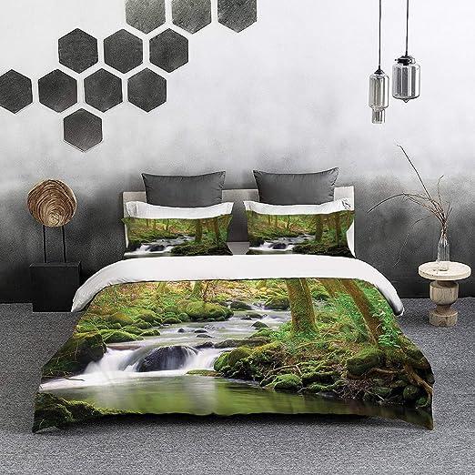 ropa de cama - Juego de funda nórdica, lago, riachuelo que ...