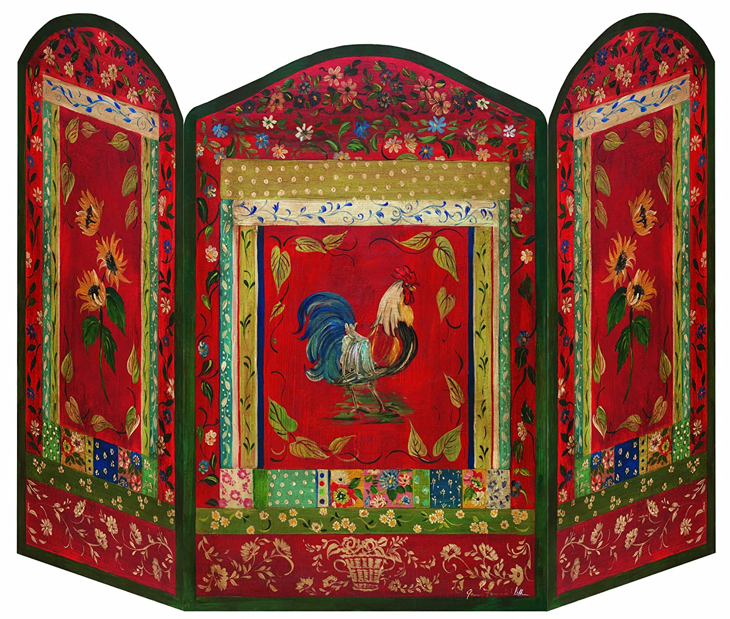 Amazon stupell home dcor red rooster 3 panel decorative amazon stupell home dcor red rooster 3 panel decorative fireplace screen 44 x 05 x 31 proudly made in usa home kitchen teraionfo