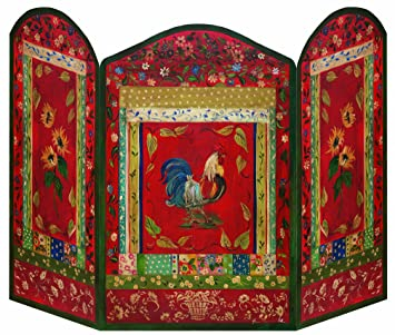 stupell home dcor red rooster 3 panel decorative fireplace screen 44 x 05 x - Amazon Home Decor