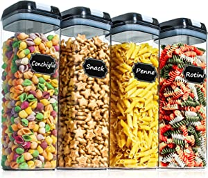Airtight Food Storage Containers - Paincco 4 PC BPA Free Plastic Canisters 1.9L/1.7QT with Easy Lock Lid for Kitchen & Pantry Organization, Ideal for Cereal, Spaghetti & Flour, with 20 Labels & Marker