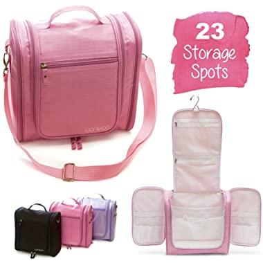 Large Premium Hanging Travel Toiletry Bag for Women – Waterproof Bathroom & Shower Organizer Kit has 23 Storage Areas for Toiletries, Cosmetics, Makeup, Brushes - 100% Satisfaction Guarantee