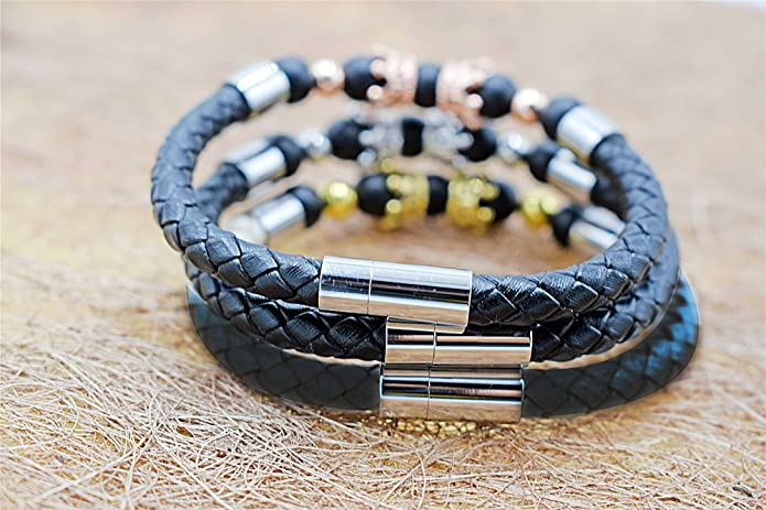 QIDISI Stainless Steel Leather Bracelet Natural Black Agate Scrub Stone Energy Bracelet King Crown Cubic Zirconia CZ Bracelet