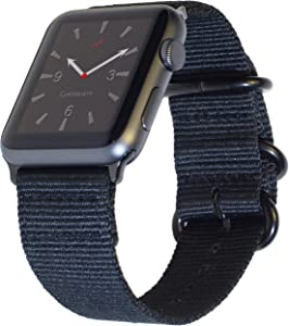 "Carterjett Extra Large Nylon Compatible with Apple Watch Band 42mm 44mm XL Black Replacement Military-Style iWatch Band 8-10.5"" Wrists Long Adjustable for Series 5 4 3 2 1 Sport (42 44 XXL Black)"
