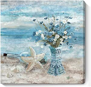 Flower Canvas Wall Art for Living Room Modern Abstract Ocean Beach Wall Decor Print Blue and White Floral in Indian Style Vase Framed Artwork for Bedroom Bathroom Office Ready to Hang 24x24inch