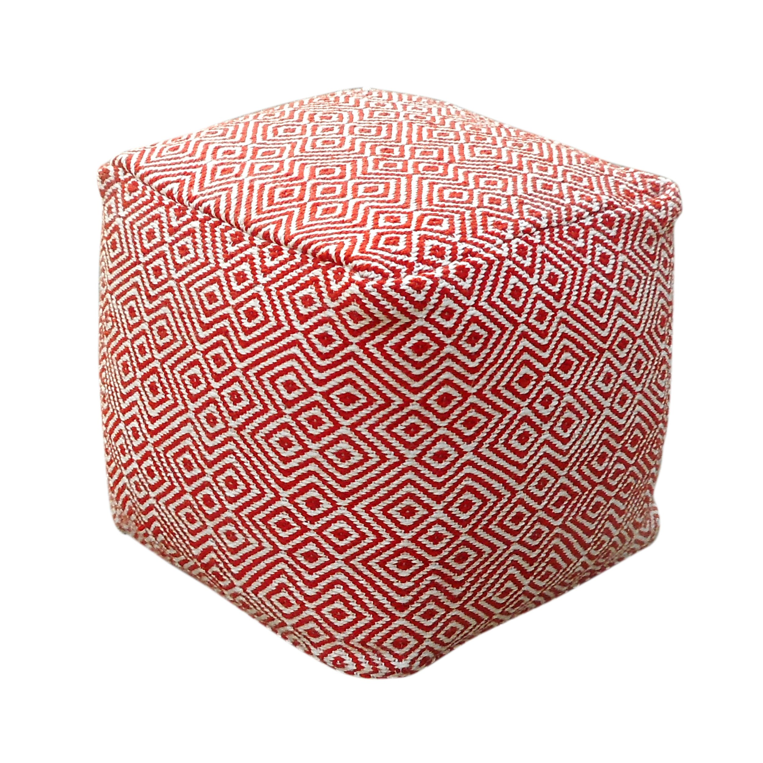 Great Deal Furniture 304840 Alston Outdoor Modern Boho Pouf, Ivory with Red