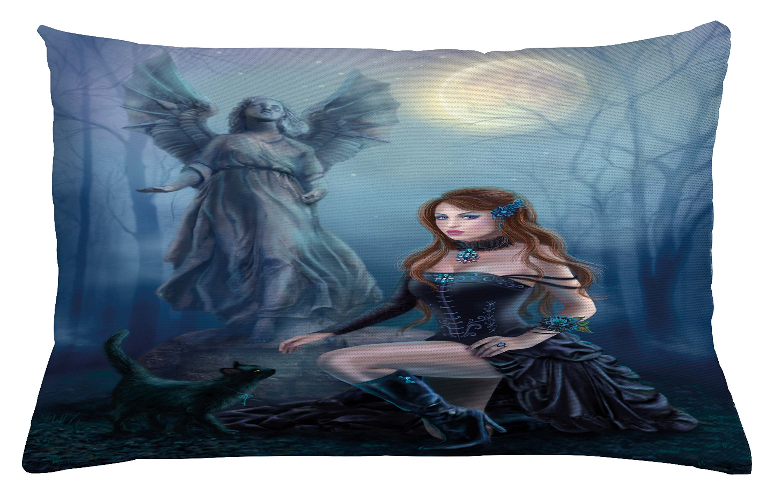 Lunarable Vampire Throw Pillow Cushion Cover, Fantasy Woman with Black Cat About an Angel Statue Mysterious Woods Gothic Print, Decorative Accent Pillow Case, 26 W X 16 L inches, Multicolor