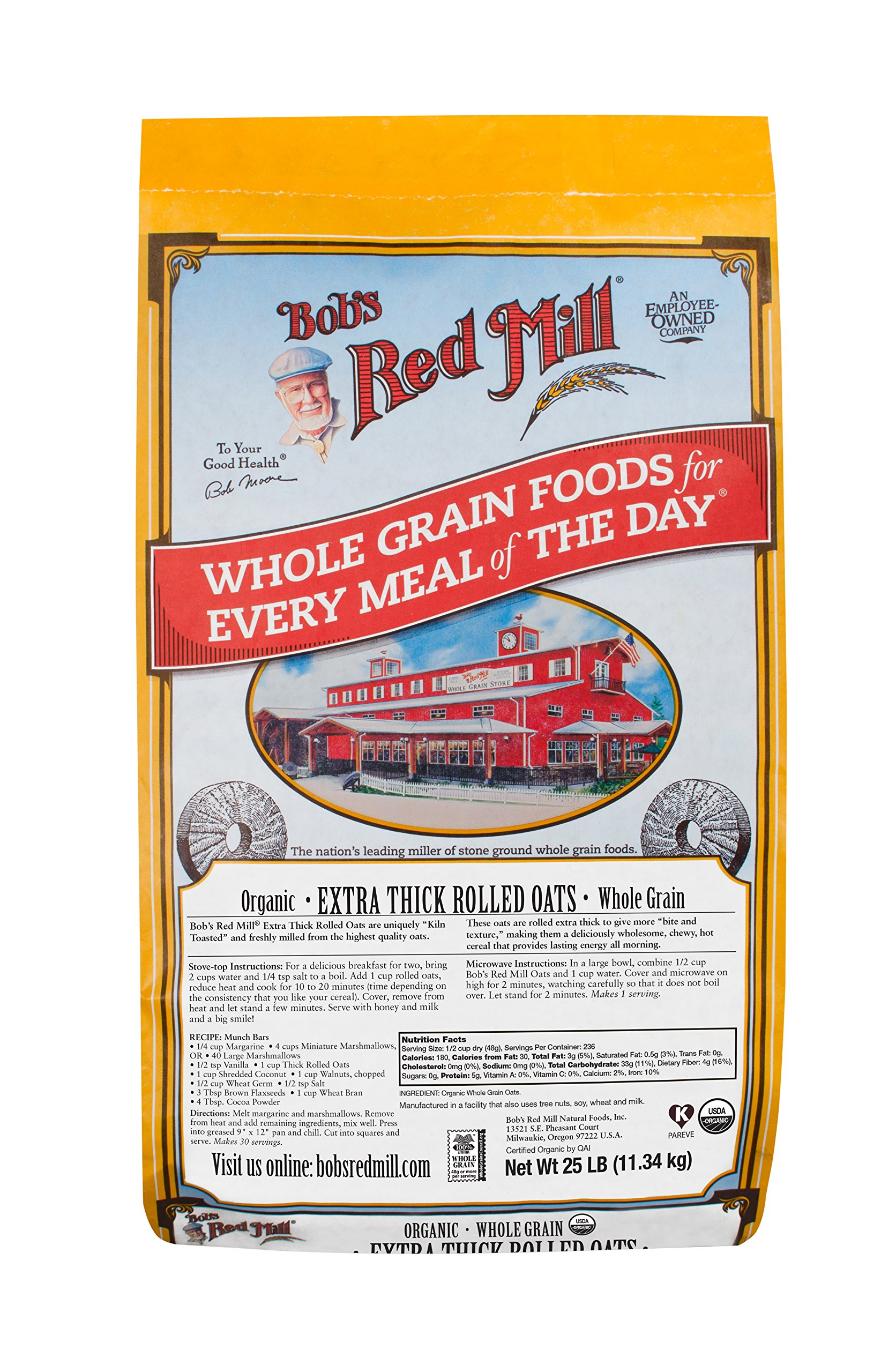 Bob's Red Mill Organic Extra Thick Rolled Oats, 25 Pound