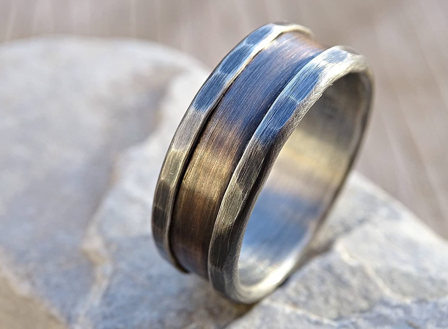 Amazon: Bronze Ring Silver, Bronze Wedding Band, Alternate Mens Wedding  Band, Rustic Silver Ring Bronze Rustic Wedding Ring, Men's Engagement Ring,