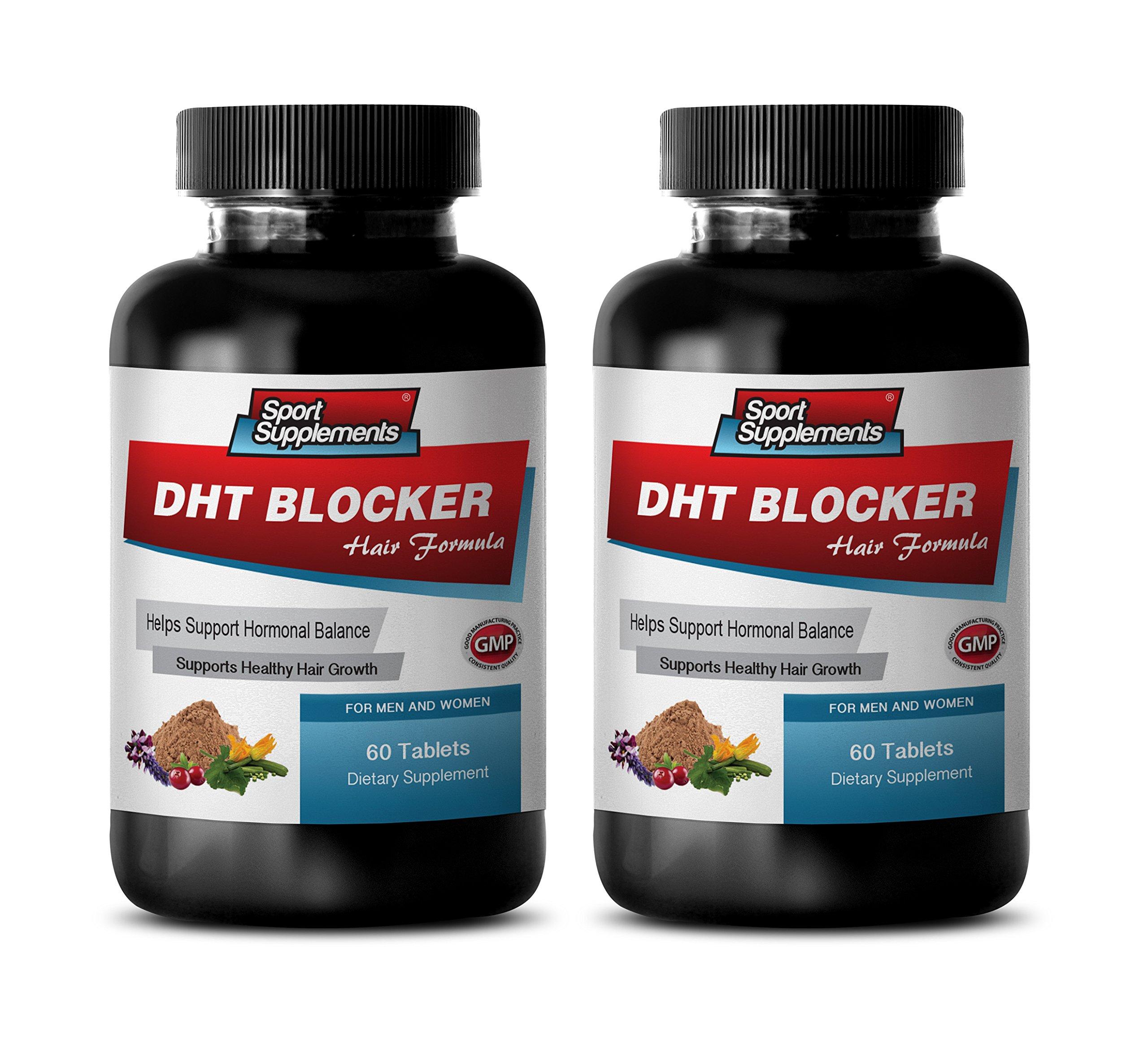 hair growth dht blocker supplement - DHT BLOCKER HAIR FORMULA - SUPPORT HEALTHY HAIR GROWTH - zinc natural supplement - 2 Bottles 120 Coated Tablets