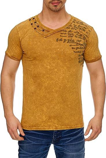 9ef36883c9c2 Tazzio Herren T-Shirt mit V-Halsausschitt Kurzarm T-139-1