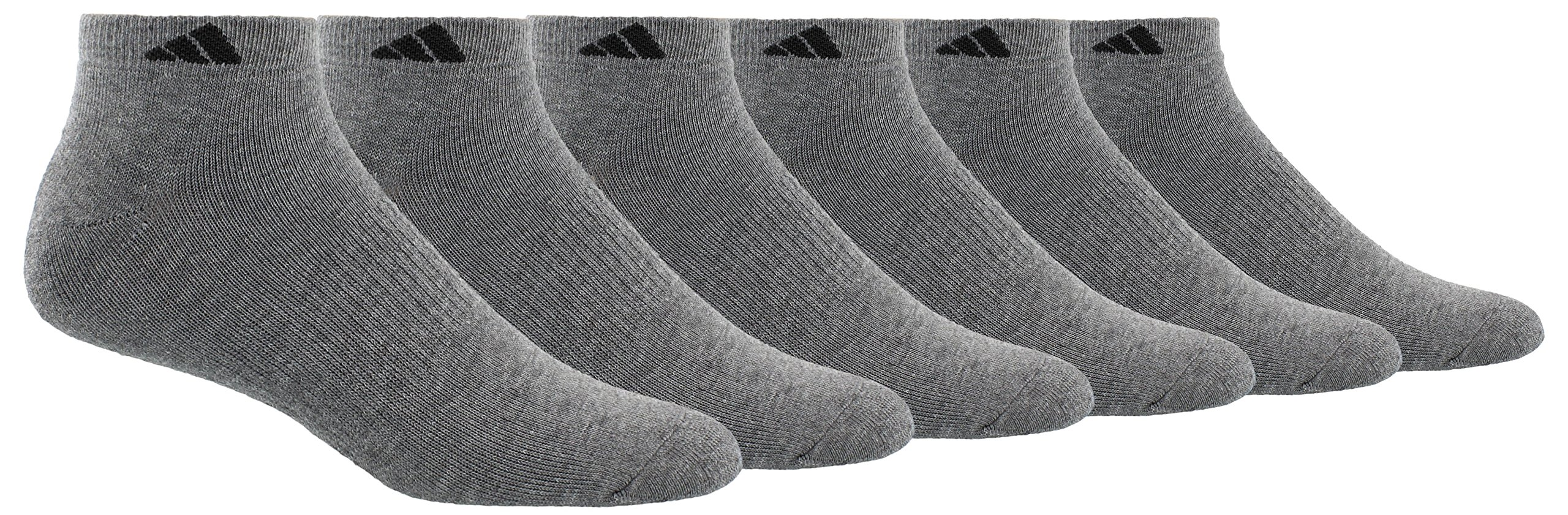 adidas Men's Athletic Cushioned Low Cut Socks (6-Pair), Heather Grey/Black, Large, (Shoe Size 6-12) by adidas