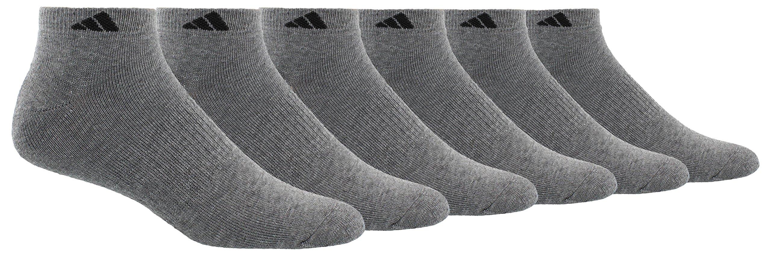 adidas Men's Athletic Low Cut Socks (6 Pack), Heather Grey/Black, regular: 6-12