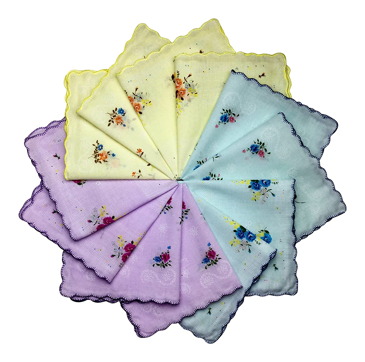 Q.T. Bamboo Women's Cotton Handkerchiefs 12 Pack Vintage Inspired Floral Design 4 Yellow 4 Pink))
