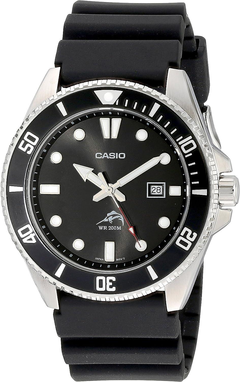 Casio Hombre Negro Analog anti Reverse Bisel reloj