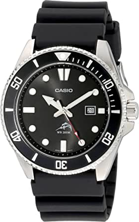 Casio De los hombres negro Analog anti Reverse Bisel reloj