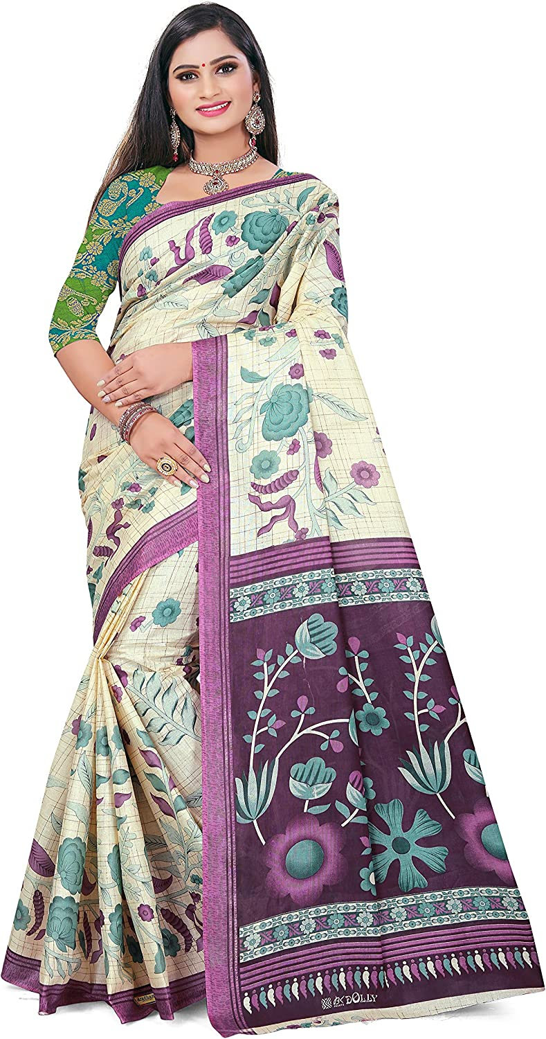 Venisa Women's Pure Cotton Jacquard Saree Indian Ethnic Wear (Off White)