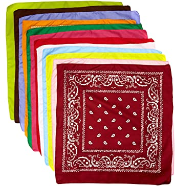 ffb7c90ea09c The Rock Collection Lot de 12 bandana en coton avec décoration cachemire  Violet orange