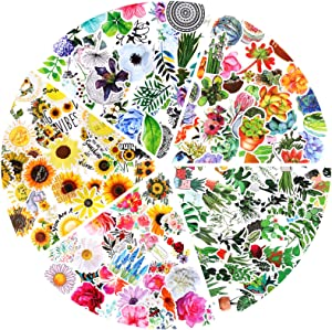 Coneedy 250 Pieces Mixed Flowers Stickers Waterproof Vinyl Stickers Sunflower Leaf Succulent Stickers Laptop Encouragement Decal for Adults Teens Kids, Luggage, Guitar, Bottle, Refrigerator Decoration