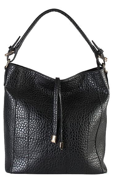 ebfbcb63068e Amazon.com  Diophy Womens Faux Leather Zipper Closure Shoulder Bag Handbag  GS-3324 Black  Shoes