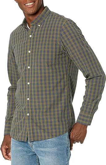 Marca Amazon - Goodthreads – Camisa de popelín a cuadros de manga larga de corte entallado y cuello abotonado para hombre