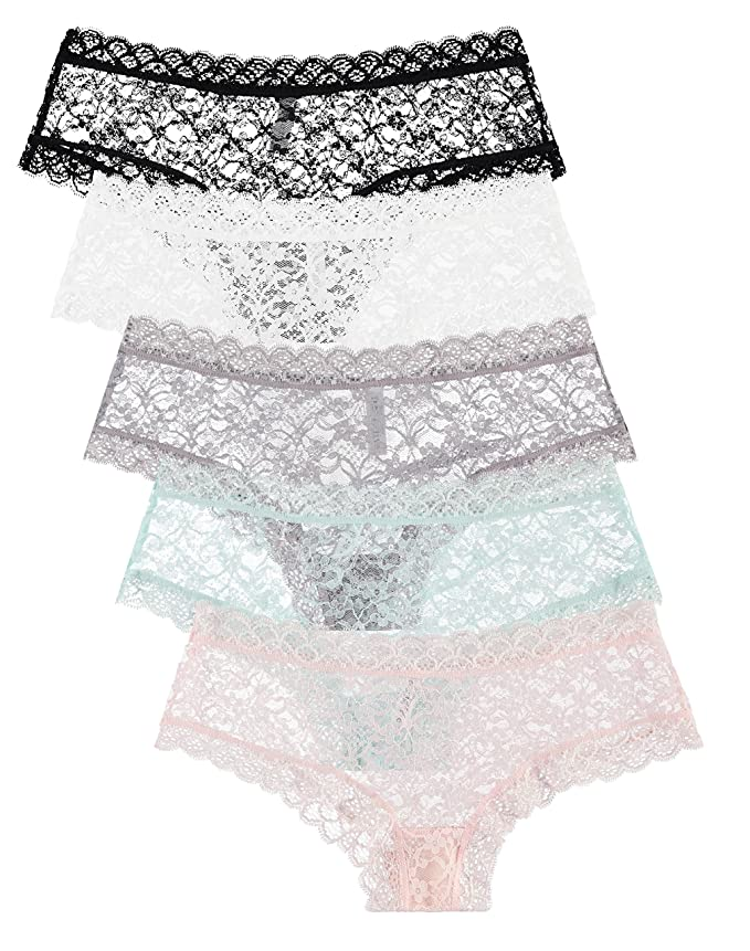 5-Pack: Free to Live Women's Trimed Sexy Lace Boy Short Panties (Medium)