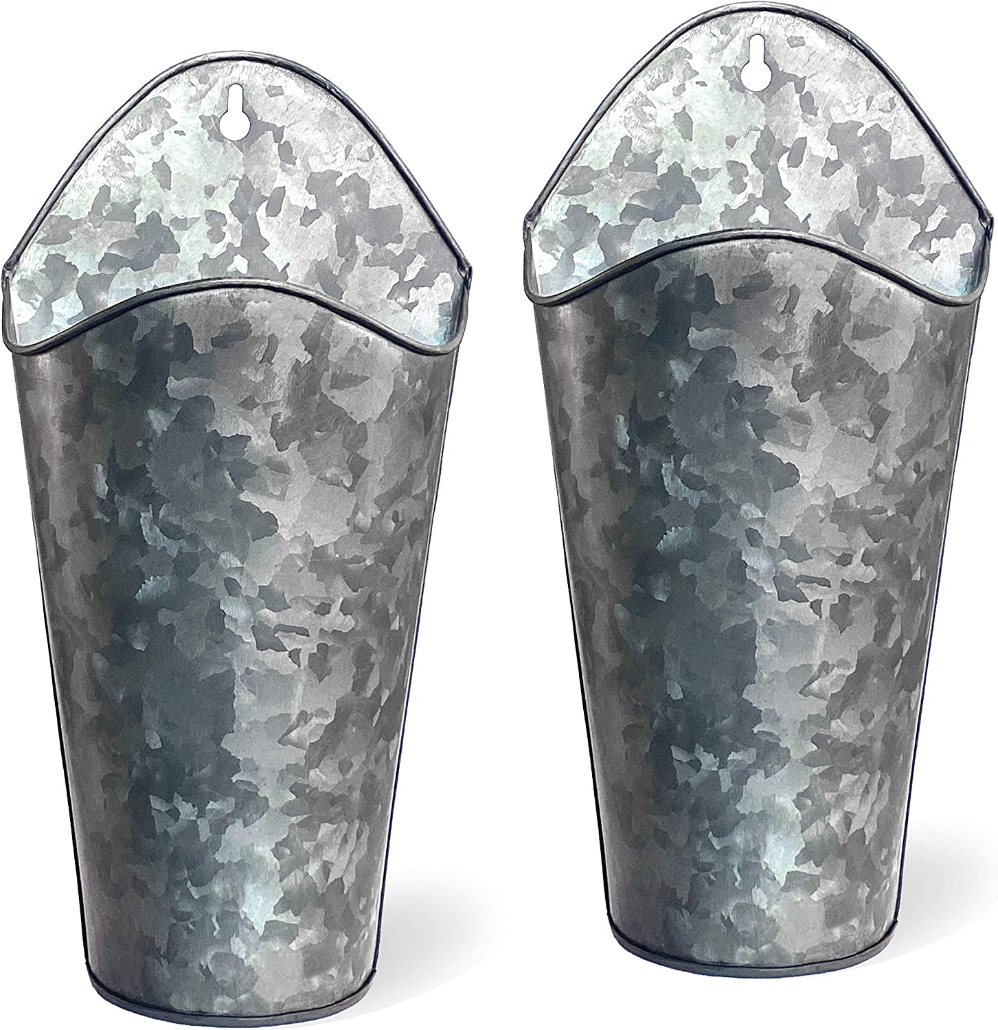 Ivy Echo Galvanized Metal Wall Planters - Set of 2 Farmhouse Style Home Wall Decor Planters. Hanging Wall Vase Planters for Flowers, Herbs, Air Plants, Faux Plants, Decorations and More