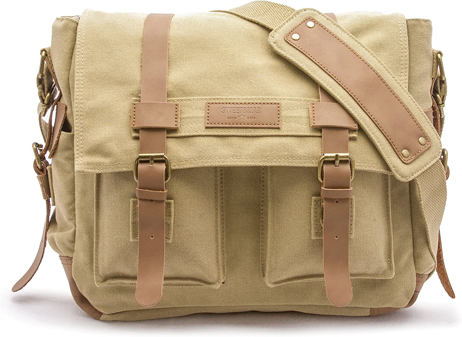 Sweetbriar Classic Laptop Messenger Bag, Army Khaki - Canvas Pack Designed to Protect Laptops up to 15.6 Inches