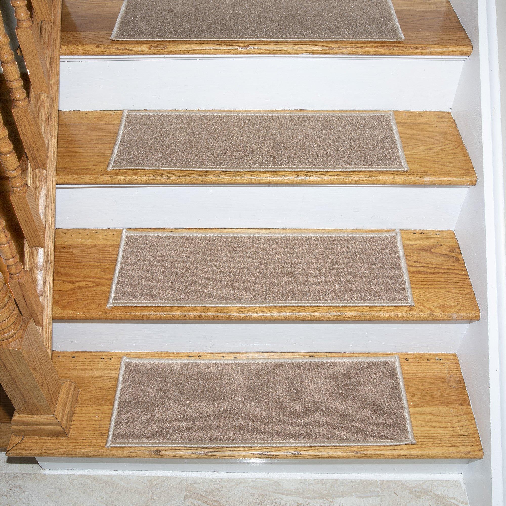 Ottomanson Set Variation of Skid-Resistant Rubber Backing Non-Slip Carpet Stair Treads (8.5'' x 26.5''-14Pack), 14 Pack, Dark Beige