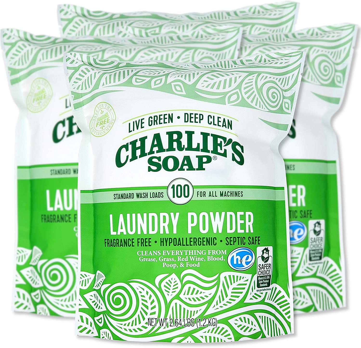 Charlie's Soap Laundry Powder (100 Loads, 4 Pack) Hypoallergenic Deep Cleaning Washing Powder Detergent – Eco-Friendly, Safe, and Effective