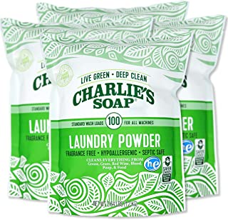 product image for Charlie's Soap Laundry Powder (100 Loads, 4 Pack) Hypoallergenic Deep Cleaning Washing Powder Detergent – Eco-Friendly, Safe, and Effective