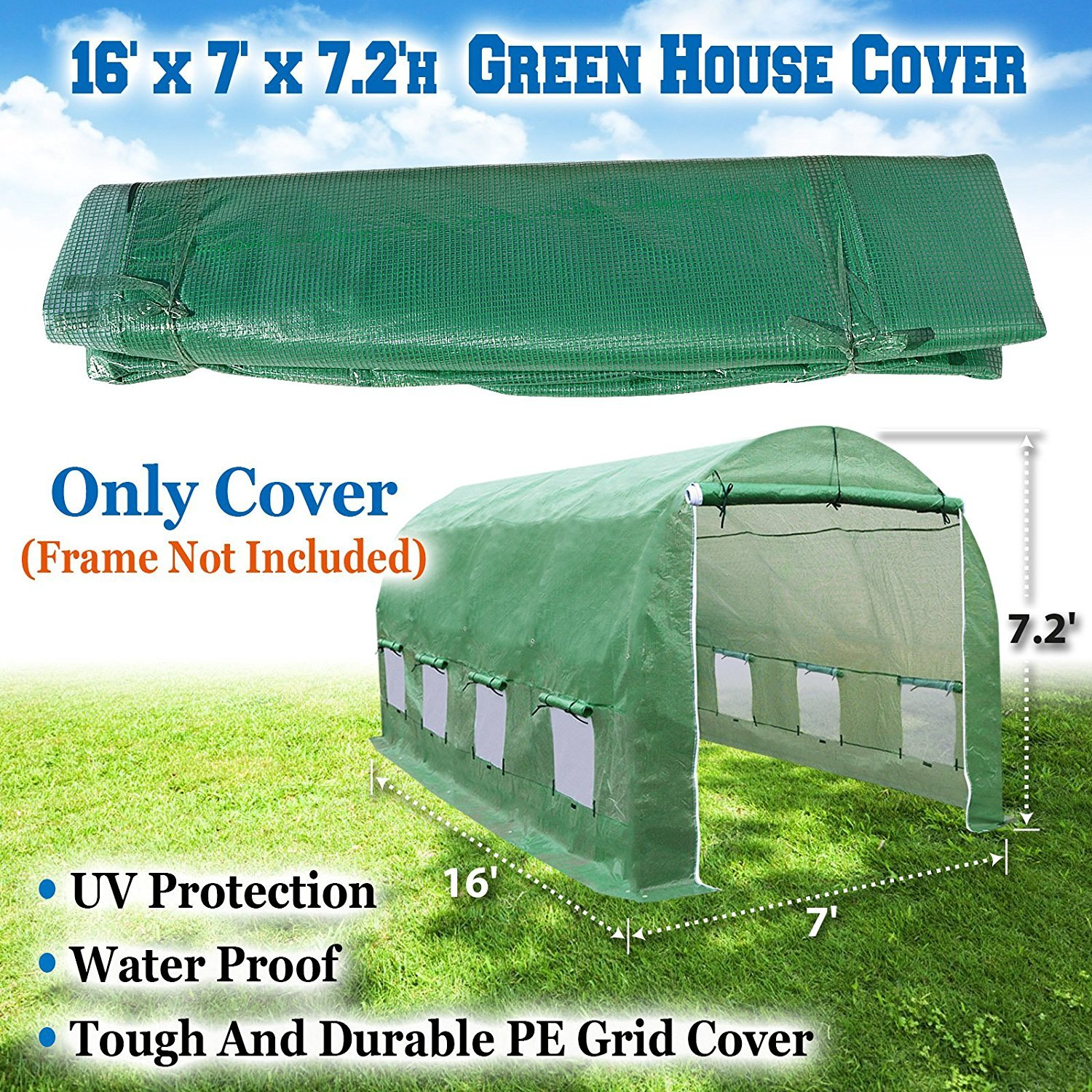 BenefitUSA 16 X 7' Replacement Green House (Cover Only) Greenhouse