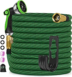 Expandable Garden Hose 100ft, Flexible No-Kink Water Hose with 10 Metal Spray Nozzle, 3300D 3/4'' Solid Brass Connectors, Portable Hose for Gardening