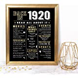 Katie Doodle 100th Birthday Party Decorations Supplies Anniversary Card Gifts for Men Women Turning 100 Years Old - Includes 8x10 Back in 1920 Print [Unframed], Black and Gold