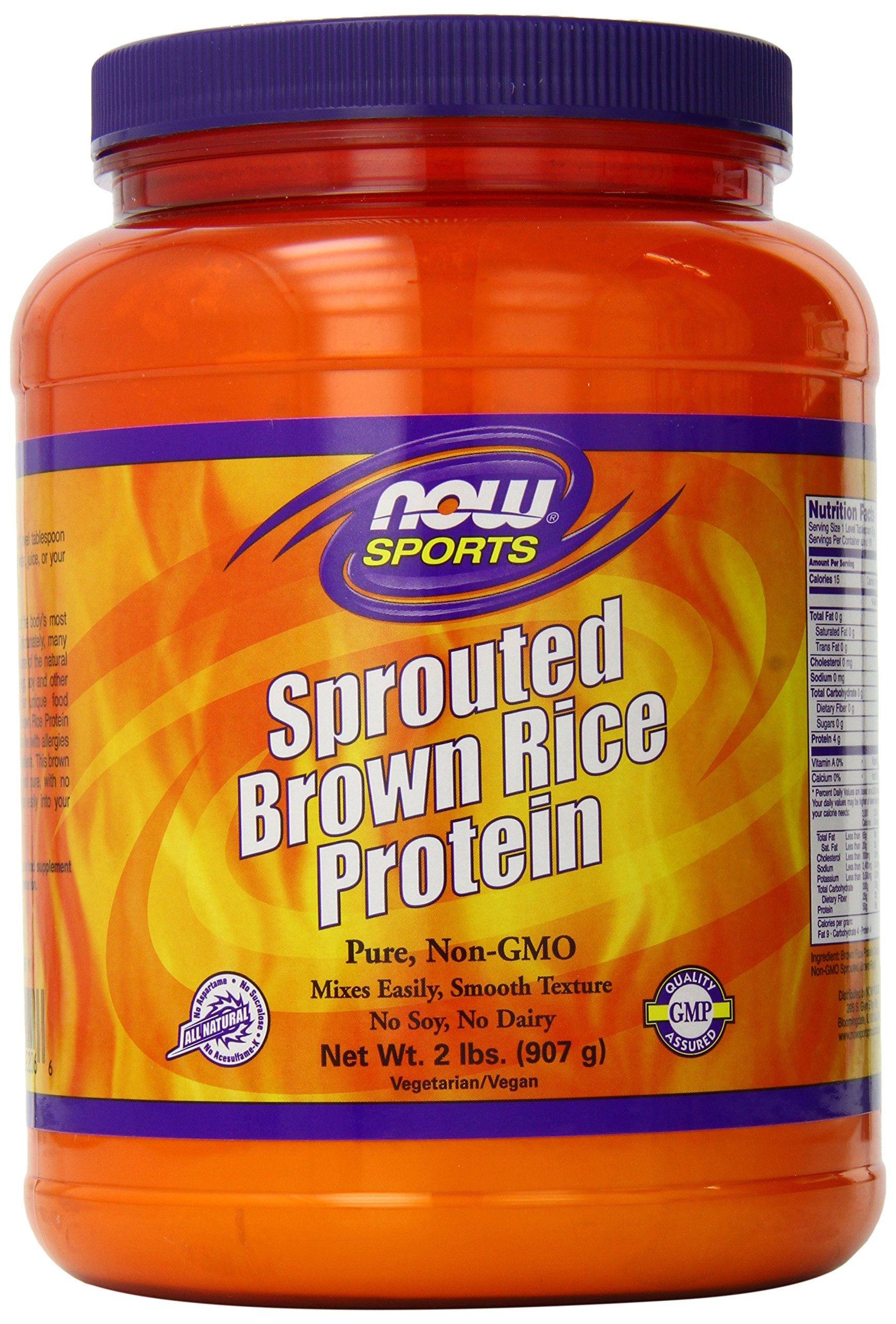 NOW Sports Sprouted Brown Rice Protein Powder,2-Pound