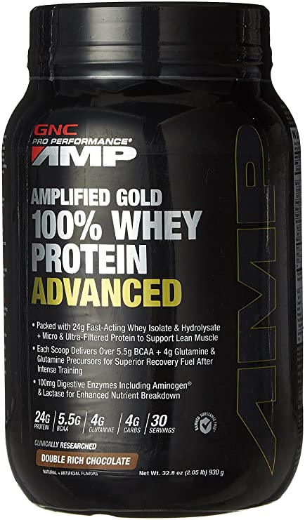 GNC AMP Amplified Gold 100% Whey Protein Advanced - 2.05 lbs, 0.93 Kg (Double Rich Chocolate) Whey Proteins at amazon