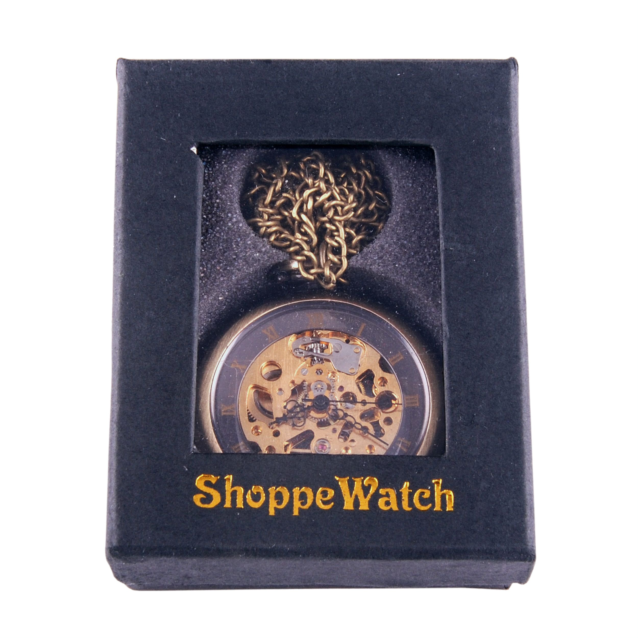 ShoppeWatch Hand Wind Mechanical Skeleton Pocket Watch Open Face Steampunk Style With Chain - PW12 by ShoppeWatch (Image #6)