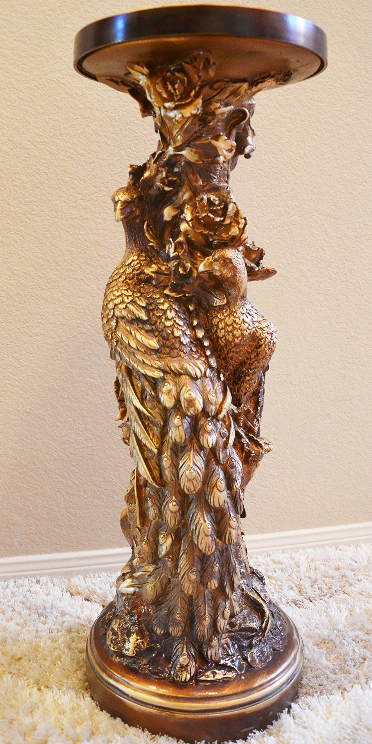 Golden Floor Table Stand Furniture Pedestal Post Column Interior Decor Carved Peacocks Statue Sculpture by Troy Decor