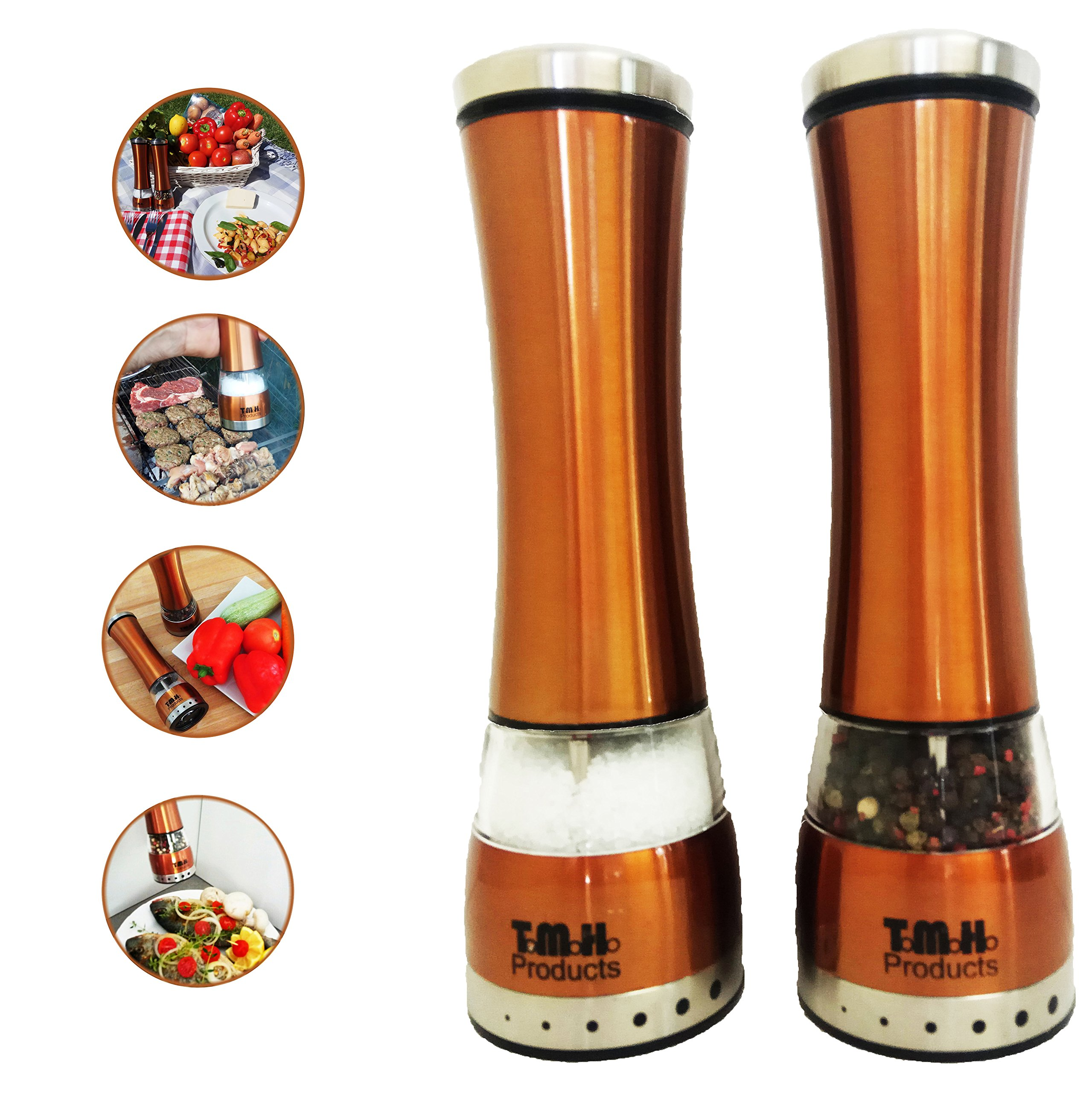 Salt and Pepper Grinder Set, Adjustable Salt Grinders by T.M.H. Products | ELECTRIC SET of 2Mills, Simple to Use with Strong Mechanism | Polished Stainless-Steel | Accent Copper Salt and Pepper