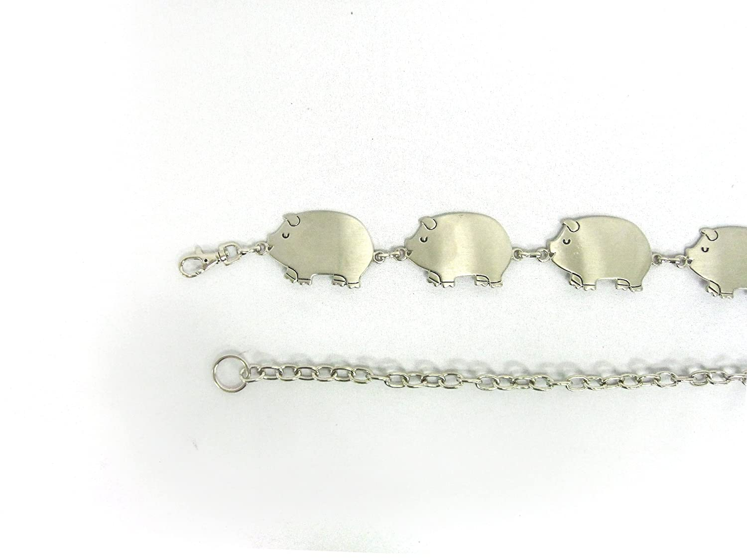 Women's Stylish Silver Plated Cute Chubby Pig on Quality Metal Chain Belt
