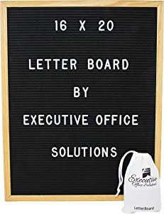 Executive Office Solutions Changeable Letter Board - Black Felt with Solid Oak Frame, Wall Mount, Canvas Bag, and 290 Characters 16x20 Black - (LB3)