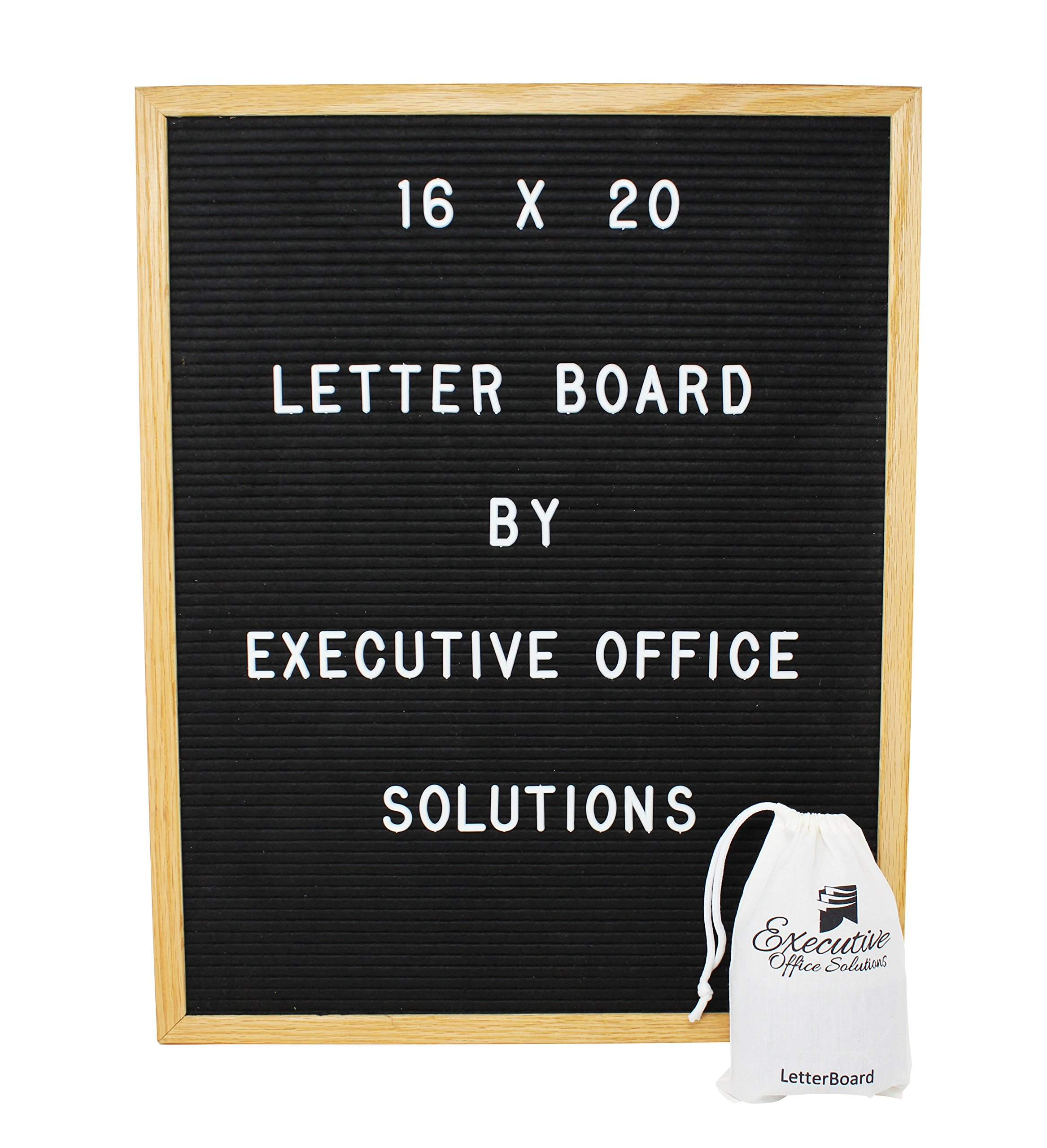 16x20 Changeable Letter Board - Black with Solid Oak Frame, Wall Mount, Canvas Bag, and 290 Characters - by Executive Office Solutions