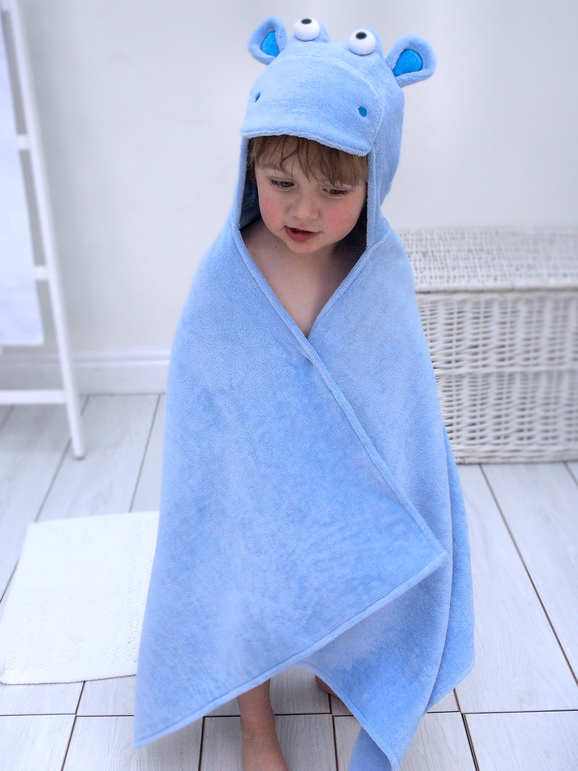 Bathing Bunnies Hippo Baby Toddler Hooded Towel Sky Blue