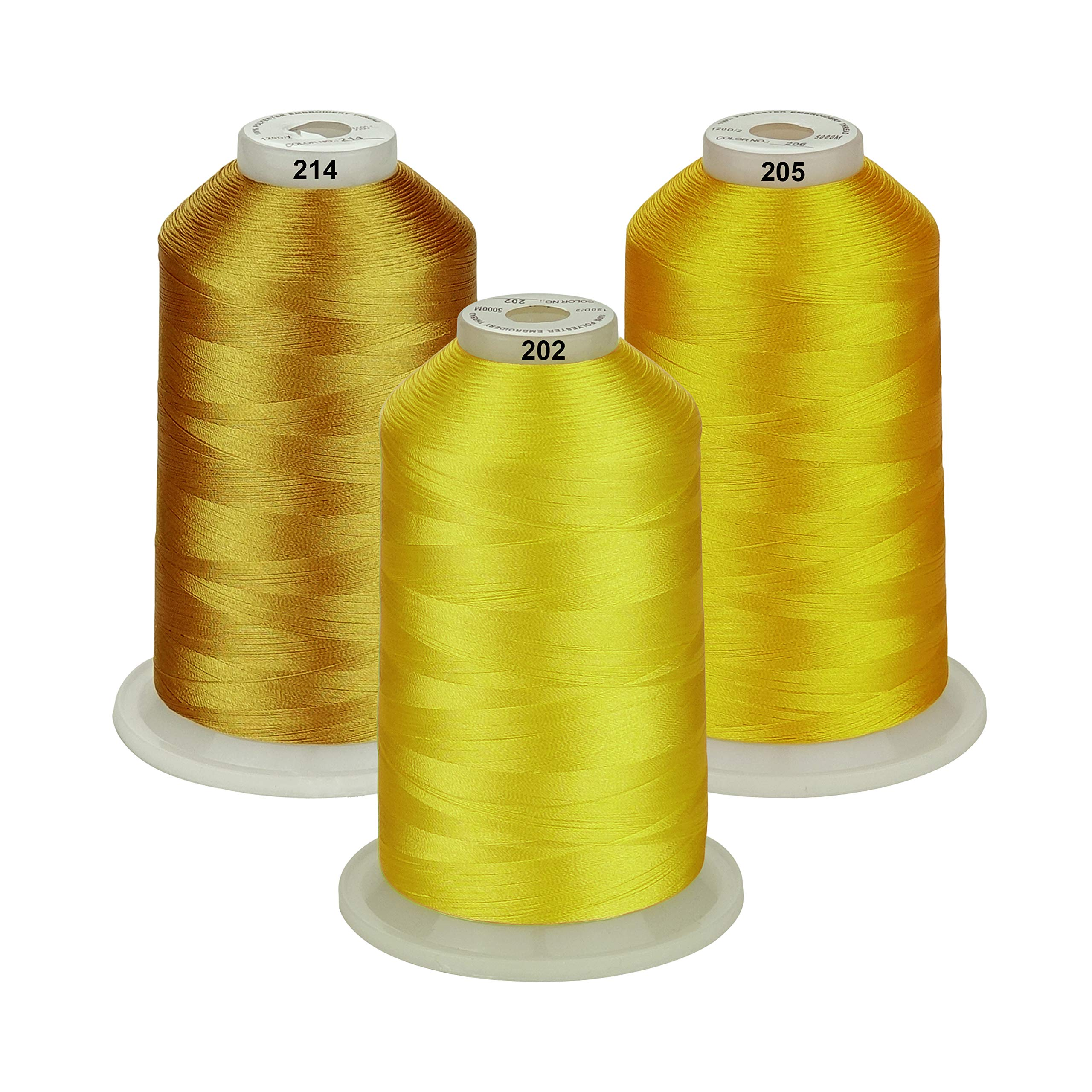 Various Assorted Color Packs of Polyester Embroidery Machine Thread Huge Spool 5000M for All Embroidery Machines 3xYELLOW New brothreads 25 Options
