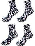 Super Soft Warm Microfiber Fuzzy Socks - 4 Pairs - Value Pack