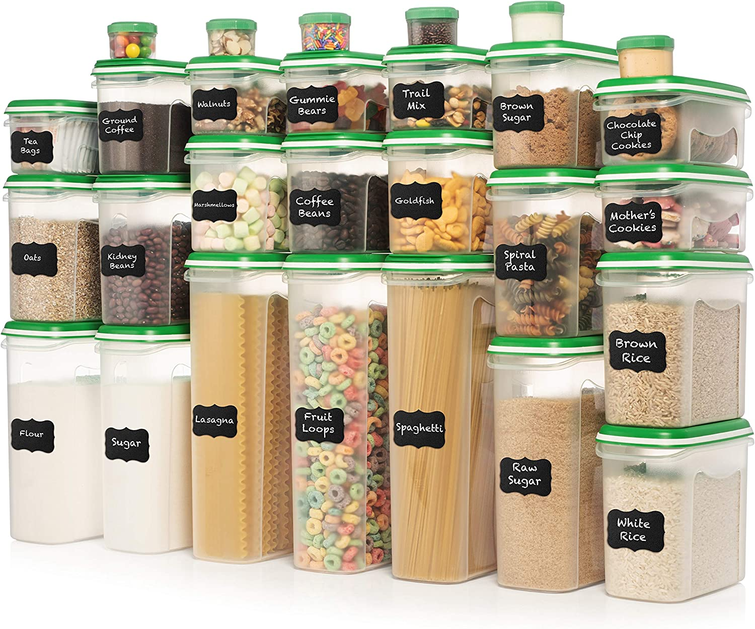 ULTIMATE LARGEST Set of 56 Pc Food Storage Containers (28 Container Set) Shazo Airtight Dry Food Space Saver with Two Type Interchangeable Lids, Labels + Marker - One Lid Fits All Reusable GREEN