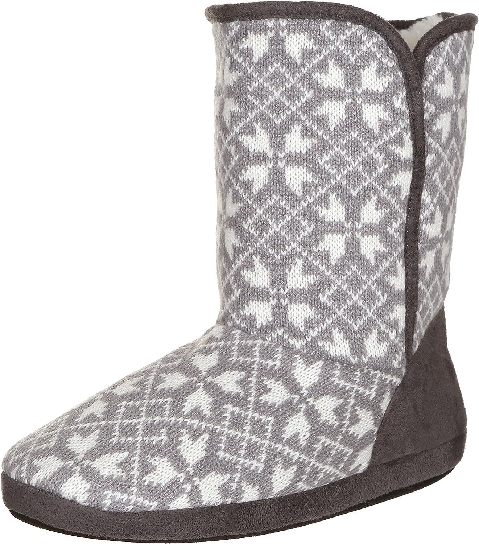 Capelli New York Ladies Multi Knit Snowflake Boot Grey Combo